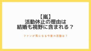 【嵐】活動休止の理由はなぜ、結婚も視野に含まれる?〜ファンが気になる今後の活動は?